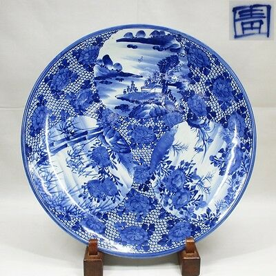 E020: Japanese old IMARI blue-and-white porcelain BIG plate with good painting