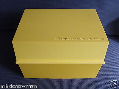 Gold yellow plastic storage box for the Betty Crocker Recipe Card Collection
