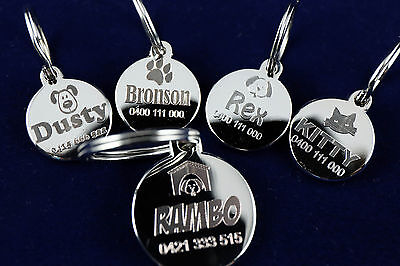 Premium Pet Dog Cat Id Tag Personalised Quality Deep Metal Engraved Include Ring