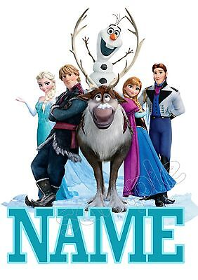 Iron On Transfer Or Sticker - Frozen Movie Personalised With Name - T-Shirt