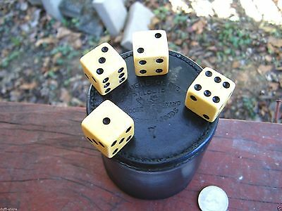Antique Brauer Bros Moose Brand Sporting Goods Bakelite Dice Leather Bar Cup