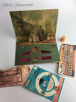 VINTAGE Sewing Items - Arko Pop Up Needle Book & Fasteners