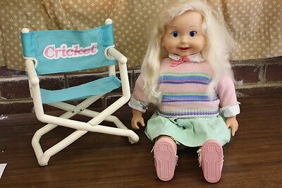 CRICKET Vintage Talking Doll with original CRICKET Chair Estate Sale