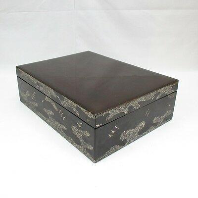E298: Japanese old lacquer ware storage box with good design of mother-of-pearl