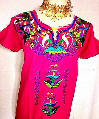 TULIPS BLUE/WHITE  Embroidered Mayan Huipil Traditional Mexican Blouse 1 Sz PINK