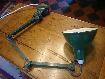 EDL Vintage Green Industrial machinists work lamp 20th century