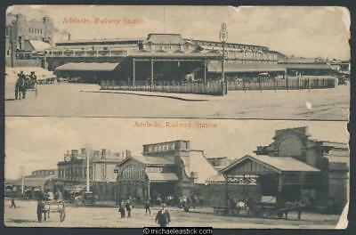 Adelaide - two views of Railway Station