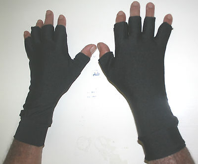 LARGE BLACK Lycra 1/2 Finger Sun Gloves 50+ Protection Outdoor fishing,golf