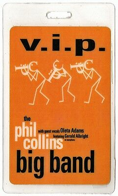 Phil Collins authentic 1998 concert Laminated Backstage Pass Big Band Tour VIP