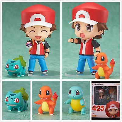 4Pcs Pokemon Red Nendoroid/Charmander/Bulbasaur Figures Kid Toy Birthday Gift
