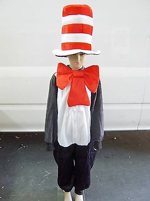 Red/White Stripe Dr Seuss Cat in the Hat Costume Hat Tie and Jumpsuit Book Week