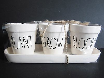 Rae Dunn by Magenta Plant Grow Bloom Planter + Tray Set New