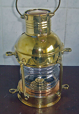All Brass Kerosene Hurricane Oil Lamp Lantern Working Condition Wall Or Table