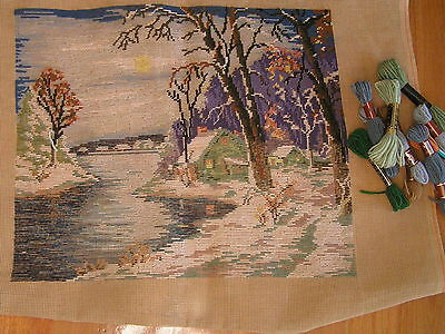 TAPESTRY  TO WORK  SNOW SCENE with some wool CROSS STITCH Tramed