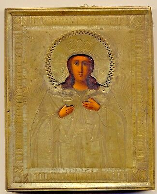 Russian Imperial  Antique yellow metal  ICON Saint Barbara ( Varvara) (#1749a)
