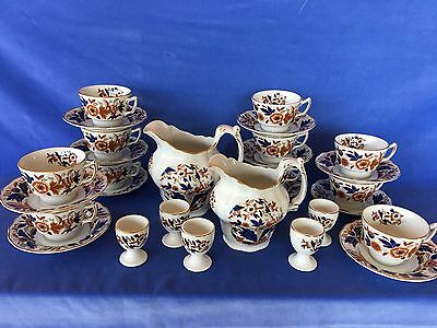 Booth's DOVEDALE Brown/Cobalt Breakfast Set: 2 Pitchers, 5 Egg Cups, 11 C&S sets