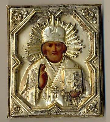 Antique Russian Imperial Icon St. Nikolay original ( #2214)
