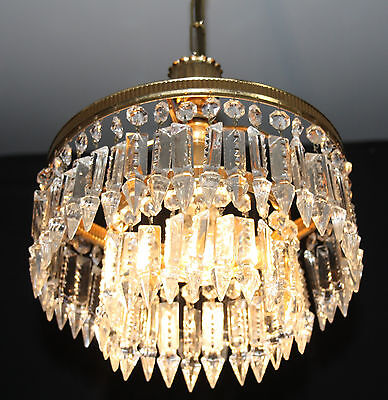 A VINTAGE FRENCH CHANDELIER GLASS  WATERFALL CEILING LIGHT (ju18a)