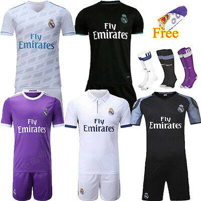17/18 Football Soccer Kids Jersey Short Sleeve Team Suit Kits 3-12 Yrs +Socks