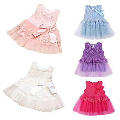 AU Newborn Baby Lace Floral Dress Girl Bow Party Princess Pageant Tutu Dresses