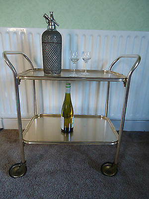 Vintage Carefree 2 Tier Tea or Drinks Trolley Gold Anodised Frame and Trays