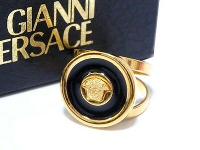 AUTHENTIC Gianni Versace MedusaScarf Ring Gold/Black Metal