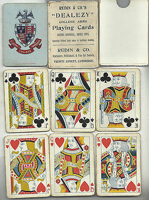 st johns college cambridge wide playing cards early 1900s used tatty box