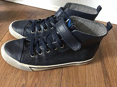Boys Navy H&M Leather Look Trainer Pumps Size 4