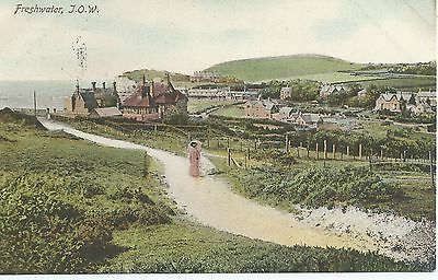 Printed postcard of Freshwater  isle of Wight  good condition posted 1909
