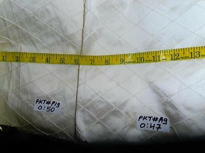2 remnants 50+47 cms- SILK DUPIONI ivory pintuck design-53 inches wide