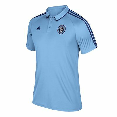 adidas Hombre Fútbol New York City FC Coaches Polo Camisa Top Azul Marino