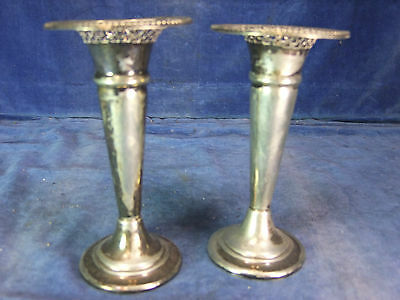 Pair of Victorian Silver Plate Trumpet Vases c.1900 [3260]