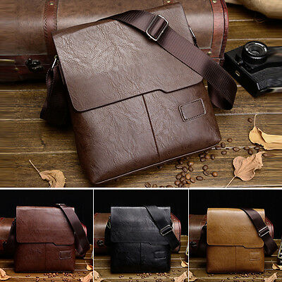 Men Leather Briefcase Casual Business Messenger Shoulder Bag Crossbody Handbag