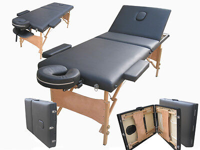 Massage Table Bed Black Therapy Beauty 3 Way Adjustable Couch Salon Portable