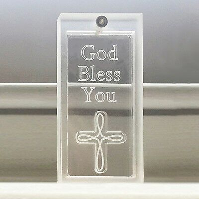 Spaceform Charms Clear Protection Amulet God Bless You Cross Talisman Faith Gift