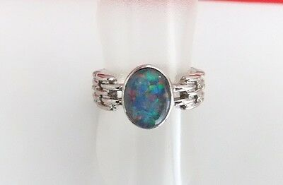 Vintage 925 Sterling Silver Gilson Opal  Band Ring