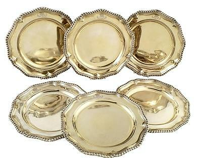 Set Of 6 Antique Georgian Silver Gilt Dinner Plates 1787