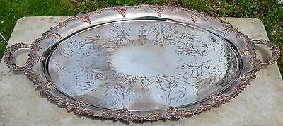 A Stunning Antique Victorian Silver Plate on Copper Butlers Serving Tray c.1880