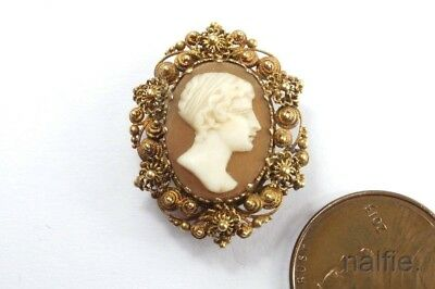 PRETTY LITTLE ANTIQUE 15K GOLD CANNETILLE CARVED SHELL CAMEO BROOCH c1830