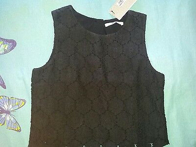 M&S Girls Lacey Black Top (age 10/11) BNWT