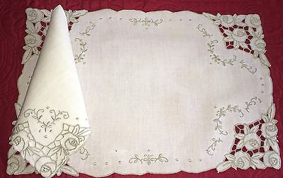 Beautiful Antique 16pc Set Hand Embroidered Roses Madeira 8 Placemats 8 Napkins