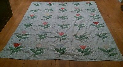 Vintage Tulip Quilt 67 Inches Wide x 80 Inches Long