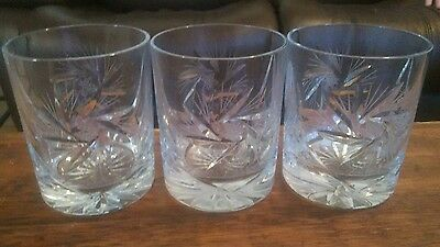Vintage Pinwheel Lead Crystal Lowball Whiskey Glass Set of 3 Glasses Loiball