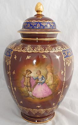 HUGE!  Rosenthal Lidded Ginger Jar Vase with Hand Painted Courtly Couple 39.5cm