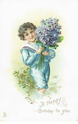 Birthday Children With Bouquet Embossed Tucks Early 1900's
