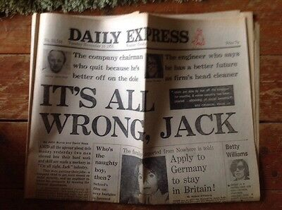 Daily Express Newspaper 16/11/1976 It's All Wrong Jack Tuesday Nov 16 1976