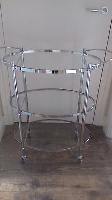 New and Unused Three Tier Glass and Chrome Hostess Drinks Trolley