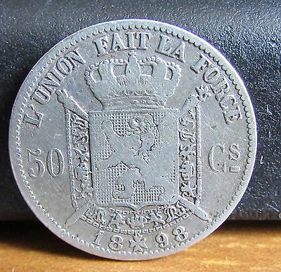 1898 Silver Low Mintage Belgium 50 Centimes Coin
