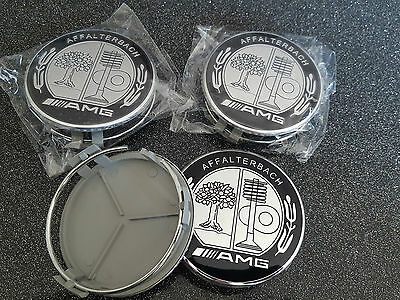 4X Logo mercedes full black caps Cache moyeu centre roue 75mm jante badge AMG