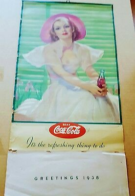 Original 1937/1938 Coca Cola Calendar Complete Pad Plus Top Metal Frame & Hook